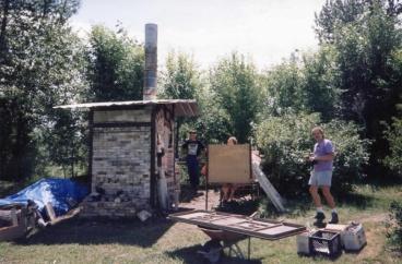 Gary Sullivan, Mark Croghan and Dave Pledge with kiln by Bridger Creek